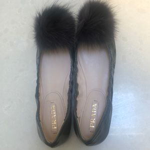 "PRADA slate grey patent flats with a ""fuzz ball"""